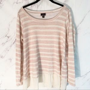 White and pink striped torrid blouse